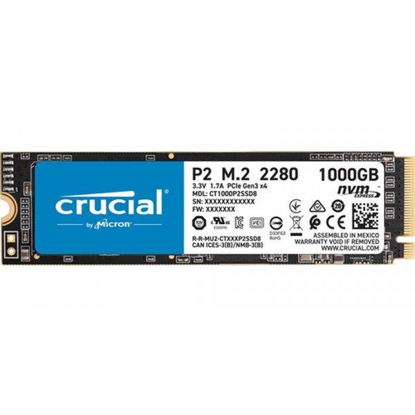 Disco Duro SSD Crucial P2 1TB PCIe M.2 2280SS Lectura 2400 MBs Escritura 1800 MBs