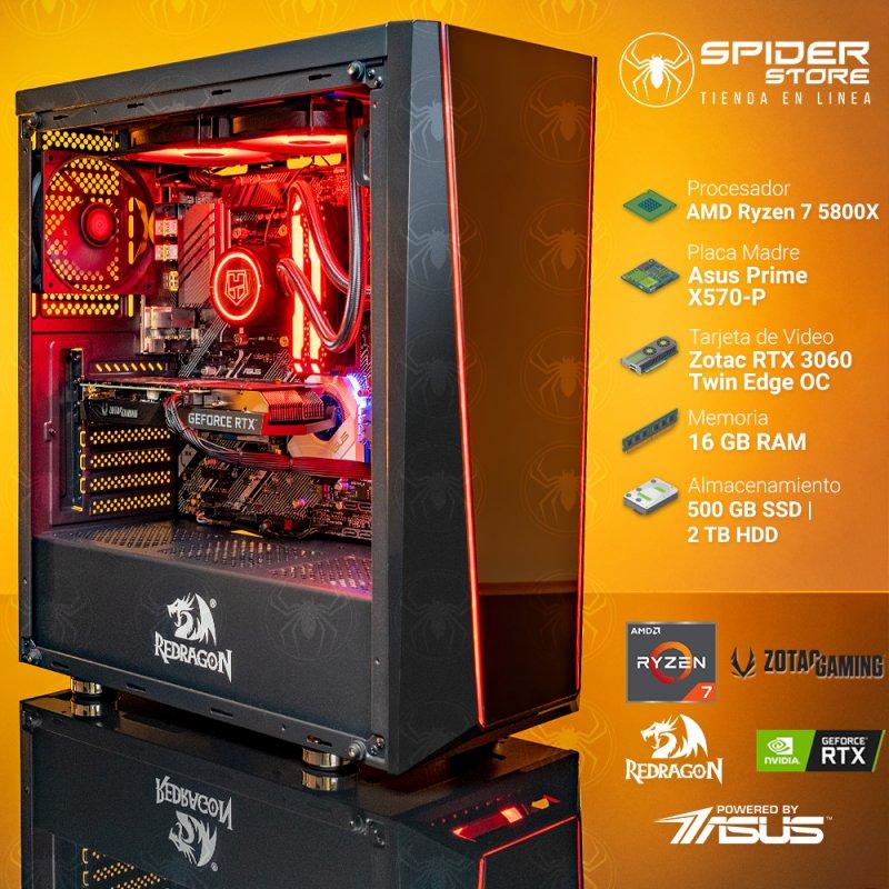 Spider Build Excelsior AMD Ryzen 7 5800x   Zotac RTX 3060   16 GB RAM   Asus Prime X570-P  500 GB M2 NVMe   2 TB HDD