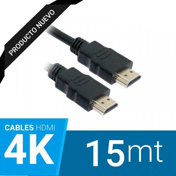Cable HDMI 15 mts M/M 2.0 4k Conectores Bañados en Oro