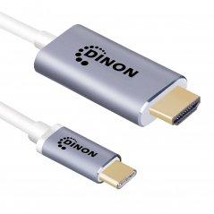 Cable USB-C 3.1 a HDMI 4k 0.9 mts Conector Metálico Gris