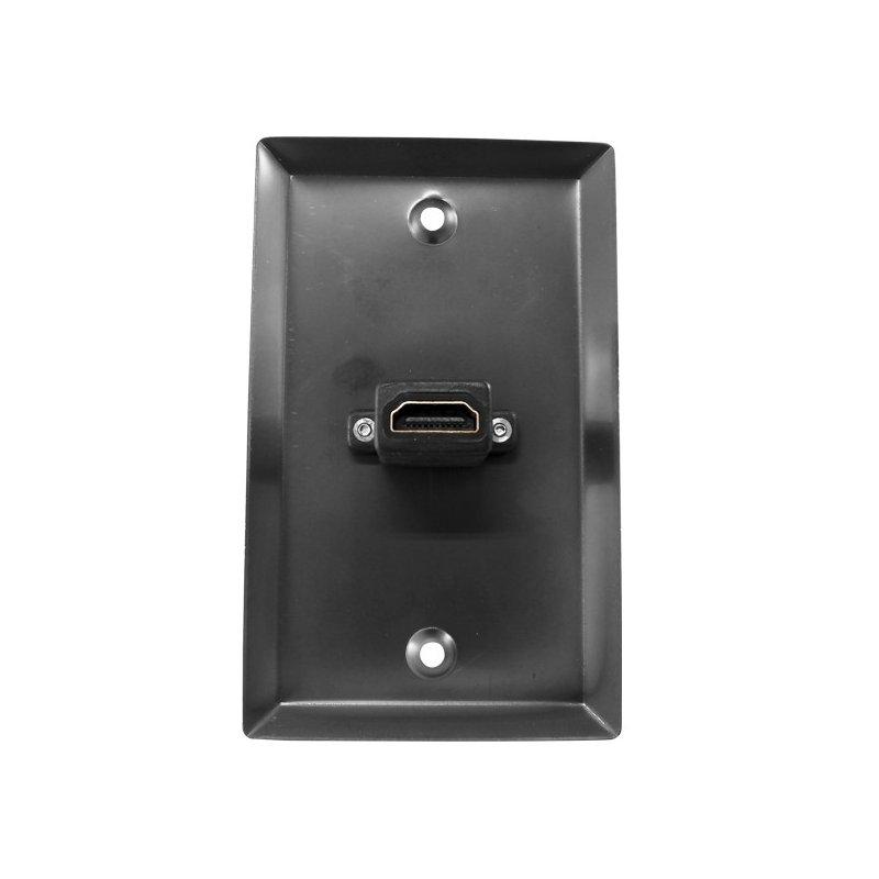 Placa de Muro 1 Puerto HDMI Acero Color Negro 2.0 4K