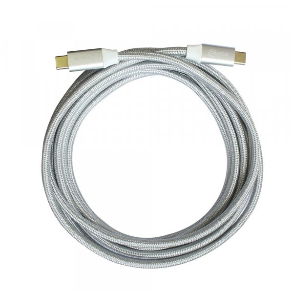 Cable USB-C a USB-C 3.1 10Gbps 1.8 mts Conector Metalico Blanco
